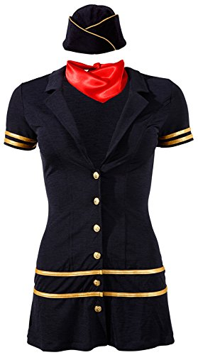 Cotelli Collection Costumes Stewardess - elegantes Minikleid für Damen, figurbetontes Kleid mit Kappe und Tuch zur Verführung des Partners, blau/gold, - Stewardess Kostüm Rot