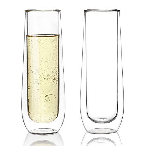Sweese 4614 Stemless Sektgläser - Doppelwandigen champagnergläser Set, Perfekt für Champagner, Sekt, Mimosa, Wein, 125ml, 2er Set Champagner-set