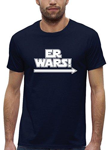 Lustiges Premium Herren T-Shirt aus Bio Baumwolle mit Er Wars Premium Stanley Stella Navy