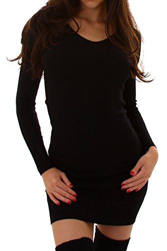 ENZORIA Damen Strickleid, ein kurzes Kleid mit Ripp-Optik, V-Ausschnitt und langen Ärmeln 34 36 38 Schwarz