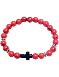 bbc9bb3d603a Bracelet Homme Femme Perle Naturelle avec Pendentif de Croix Bracelet de  Yoga Méditation Bangle Bijoux Homme