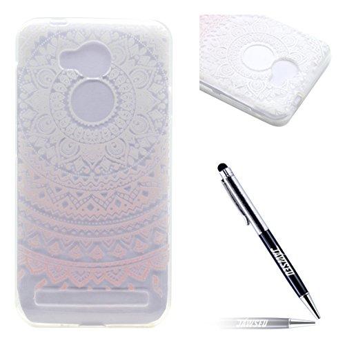 Kompatibel mit Huawei Y3 II Tpu Hülle Pink Henna Blumen Muster Transparent Ultra Thin Silikon Schutzhülle Tasche Soft TPU Hüllen Handyhülle für Huawei Y3 II, - Pink Henna