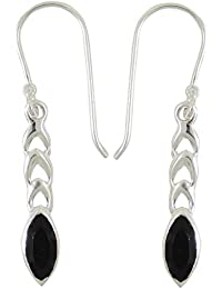 925 Pure Silver Black Onyx Stone Traditional Dangle Earring Jewellery Gift For Women