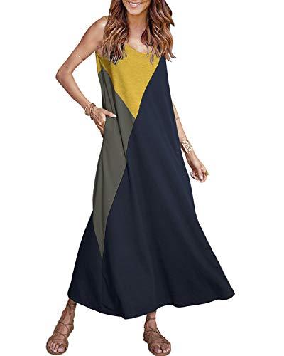 YOINS Femme Robe Longue Été sans Manches Robe Maxi Longue Chic Patchwork Robe De Plage Femme Boheme Col Rond, Bleu Foncé, EU 44