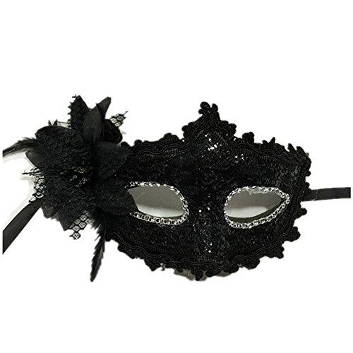 CAOLATOR Venezianische Maskerade Prinzessin Maske Weiblich Spitze Strasssteine Sequins Blumen Halloween-Party Federmasken (Maskerade Weibliche Masken)