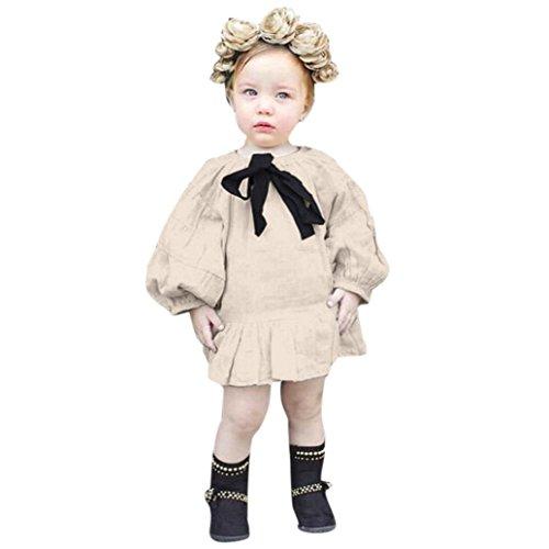 TPulling Mode Frühling Sommer Mädchen﹛3T-7T﹜Kinder Langärmelige﹛Laterne Schleife Kleid﹜Bowknot-Festzug Prinzessinkleid Rock Party Puff Top Mantel Dicke Outfits Kleider (Beige, ()