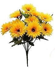 Fourwalls Beautiful Decorative Artificial Garabara Flower Bunches for Home décor (48 cm Tall, 10 Heads, Yellow)