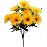 Fourwalls Artificial Synthetic Gerbera Flower Bunch (10 Flowers, Yellow, 46 cm)