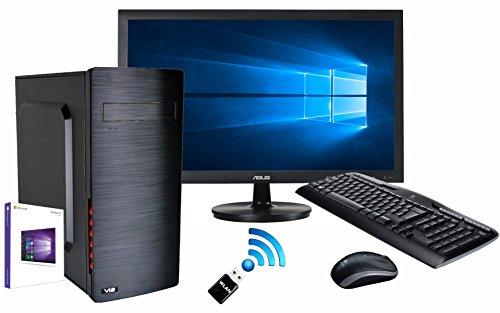 SNOGARD Officeline Komplett Set | Intel® Core i5-7400 4x 3000MHz Quad-Core, Intel HD Grafik, 8GB DDR4 RAM, 1000GB HDD, DVD±RW, Microsoft Windows 10 Pro | Advanced Multimedia Desktop Computer + FULL-HD Monitor + WLAN + Wireless Tastatur & Maus