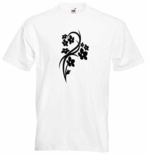 T-Shirt D211 T-Shirt Herren schwarz mit farbigem Brustaufdruck - Tribal große schöne Zierpflanze Schwarz