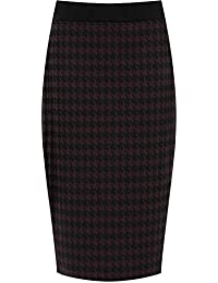 fe552a8044 WearAll Plus Size Womens Dogtooth Check Back Slit Pencil Skirt Ladies  Stretch Sizes 12-26