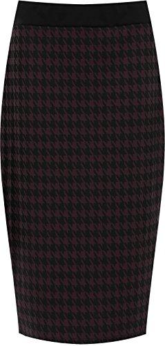 WearAll - Jupe droite avec imprimé 'dogtooth' et une fente au dos - Jupes - Femmes - Grandes tailles 40 à 54 Pourpre