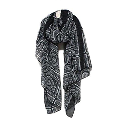 Tefamore Bufanda Mujer Chal De Moda De Patrón De Retro (Negro)