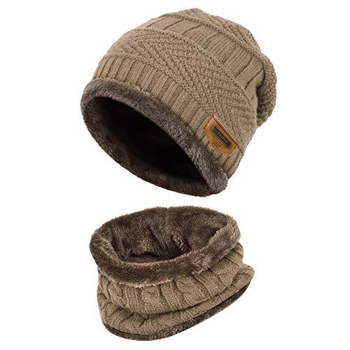 Vbiger Wintermütze Strickmütze Warme Beanie Winter Mütze und Schal mit Fleecefutter für Damen und Herren,Khaki,Einheitsgröße