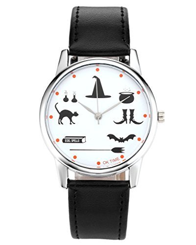 JSDDE Uhren,Fashion Cartoon Magie Zauberei Requisiten Armbanduhr Damen Uhr Lederband Analog (2017 Halloween Requisiten)