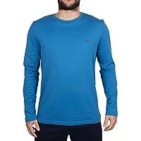 Emporio Armani Uomo Maniche lunghe petto Logo T-shirt, Blu