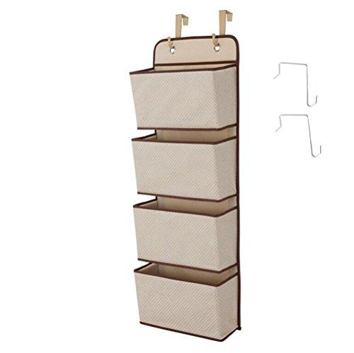 Romote Garderobe Organizer, 4-Taschen-Wandhalterung/über Tür Lagerung für Spielzeug, Geldbeutel, Schlüssel, Sonnenbrille - Beige