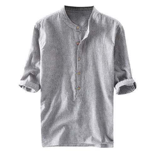 Crazboy Mode Herren Stripe Button Lässige Bluse Leinen und Baumwolle Langarm Hemd(Large,Grau)
