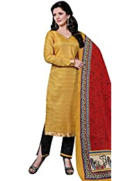 Remarkable Cream Bhagalpuri Silk Straight Suit With Dupatta.