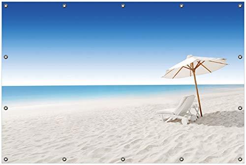 Wallario Garten-Poster Outdoor-Poster, Sonnenliege am Weißen Strand Unter Blauem Himmel in...