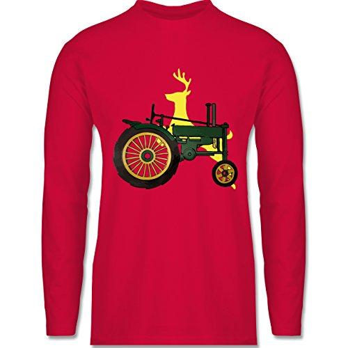 Landwirt - Traktor Hirsch Deere - Longsleeve / langärmeliges T-Shirt für Herren Rot