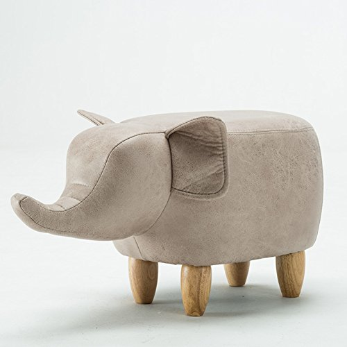LD Niños Animales Elefante Puff Taburete,Creativo 4 piernas Madera sólida Bajo Taburete Silla para niños Taburete del Zapato para Sala de Estar Dormitorio-Arroz Blanco L63xW33xH36cm