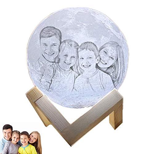 Photo de la personnalité Lampe de Noël en 3D étincelante Veilleuse lunaire rechargeable(blanc 4.7inch/12cm)