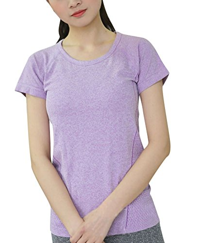 Brinny Mme Sports T-shirt Slim fitness body chemise à manches courtes Yoga shirt Violet