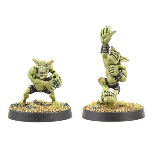 War World Gaming Gutrot Greenskins Set von 2 Catcher - 28mm Fantasie Fußball Miniatur Figur Mini Kobold für Blood Bowl, Lackierbares Sammlerstück Bemalen Gelände Modellbau