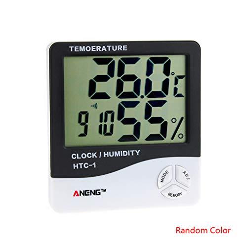 Morelyfish Probador de la humedad Detector HTC-1 Temperatura metro de la humedad 24 horas de reloj Temperatura soporte de sobremesa