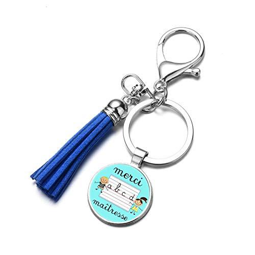 DCFVGB Schlüsselbund Mode Super Herrin Quaste Schlüsselbund Glaskunst Kreative Foto Handgemachte Charme Schlüsselanhänger Halter Für Lehrer Geschenk (Kreative Drücken Lehrer)