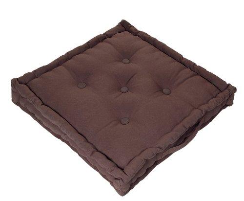 Homescapes Coussin de Chaise de couleur Chocolat fait en 100 % Coton de 50x50 cm pour Chaise de Salon et Chaise de Jardin