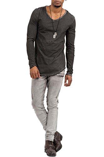 trueprodigy Casual Herren Marken Long Sleeve einfarbig Basic, Oberteil cool und stylisch mit V-Ausschnitt (Langarm & Slim Fit), Langarmshirt für Männer mit löchern Farbe: Grau 1073148-0403 Anthracite