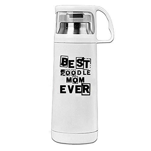 ZMvise Best Pudel Mama Ever Edelstahl Pendler Flasche Tisch Kaffee Wasser Reise Becher Thermosbecher 350 ml