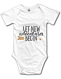 Monicago Funny Boys Girls Baby Onesies Let The Adventure Begin Cute Infant Bodysuits Cotton White Unisex