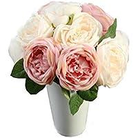 flores artificiales decoración altas para salon Sannysis flores secas naturales flores de tela bouquet flores artificiales decoración exterior para jarrones altas, novia para boda (1 ramo 5 cabezas)