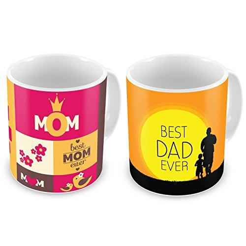 Indibni No. 1 Mom & Best Dad Ever Mug Set of 2