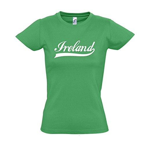 Damen T-Shirt - Irland Oldschool Ireland LÄNDERSHIRT EM / WM FAN Trikot S-XXL , Kelly green - weiß , M