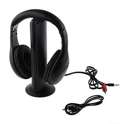 Noir 5 En 1 Casque Stéréo Sans Fil écouteurs Avec Micro Pour Radio Pc Tv