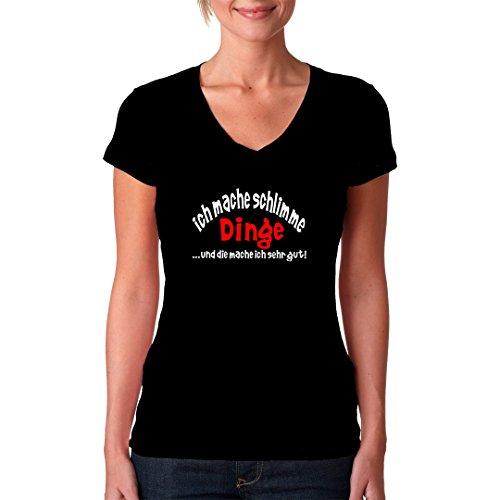 Fun Sprüche Girlie V-Neck Shirt - Schlimme Dinge by Im-Shirt Schwarz