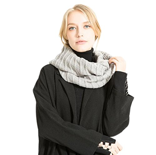 Yue Lian Frauen Winter Halstücher vertikale Streifen Rundschal Verdicken Stunden Schals Scarf Scarves(Hell grau) (Streifen-schal Vertikale)