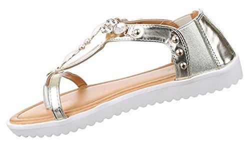 Damen Sandalen Schuhe Dianetten Zehentrenner Damenschuhe Dekosteinchen Schwarz gold silber weiss 36 37 38 39 40 41 Gold