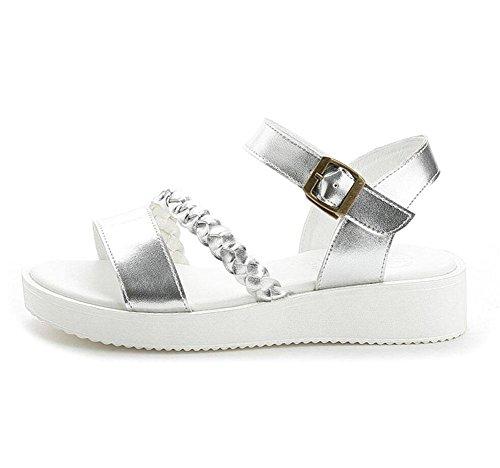 sandali casuali posto dopo fibbia rotonda scarpe di cuoio aperte in punta con i pattini di modo l'aria delle donne Silver