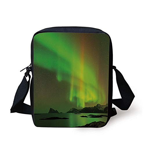 Northern Reflections (Northern Lights,Magical Enchanted Universe Sky with Reflections Tranquil Scenery,Lime and Reseda Green Print Kids Crossbody Messenger Bag Purse)