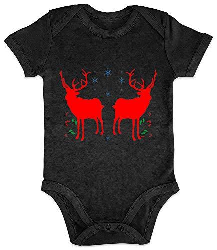HARIZ Baby Body Kurzarm Elch Rentier Hirsch 2 Weihnachten Xmas Schnee Tannenbaum Plus Geschenkkarte Pinguin Schwarz 12-18 Monate