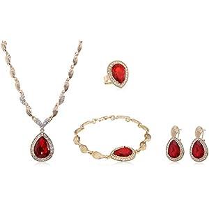 PIXNOR Wasser Tropfen Schmuck Set Halskette Armband Ring Ohrringe