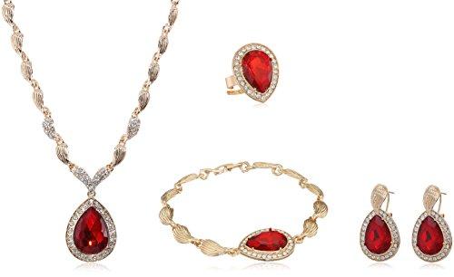 PIXNOR Wasser Tropfen Schmuck Set Halskette Armband Ring Ohrringe - Wasser-tropfen