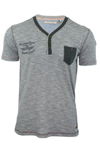 Brave Soul Herren T-Shirt 'Dresden' Doppel V Ausschnitt Kurzärmelig Holzkohle
