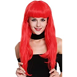 WIG ME UP ® - 90649-EZA13 Peluca Mujer Carnaval Halloween Rojo Años 50 Burlesque Pin-Up Flequillo