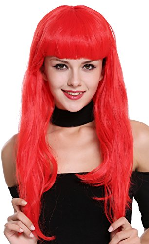 WIG ME UP - 90649-EZA13 Perücke Damen Karneval Fasching lang rot Pony Burlesque 50er Jahre Pin-Up Star Femme ()